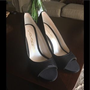 NWT Caparros black sequin satin heel pumps size 10